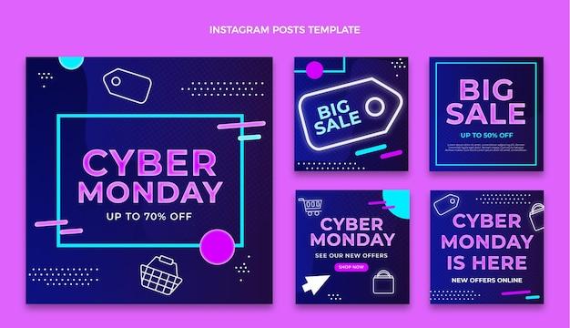 Colección plana de publicaciones de instagram de cyber monday