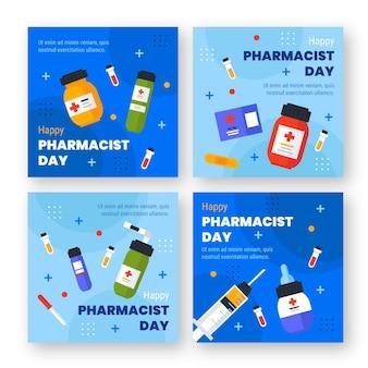 Colección plana de publicaciones de instagram del día del farmacéutico