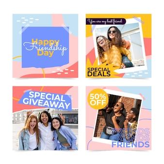 Colección plana de publicaciones de instagram del día internacional de la amistad