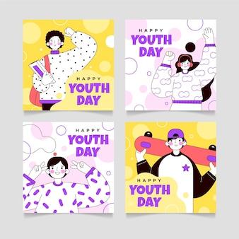 Colección plana de publicaciones de instagram del día internacional de la juventud