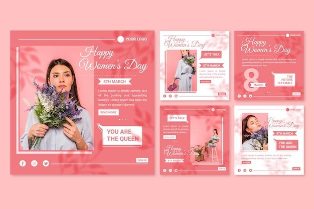 Colección plana de publicaciones de instagram del día internacional de la mujer