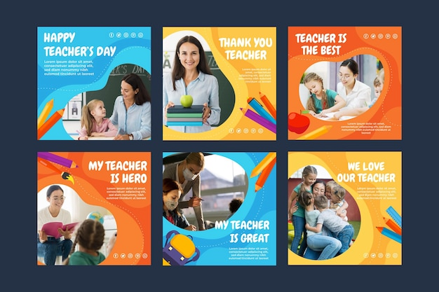 Colección plana de publicaciones de instagram del día del maestro con foto