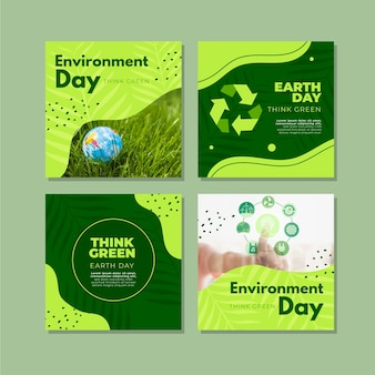Colección plana de publicaciones de instagram del día mundial del medio ambiente