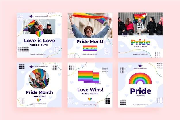 Colección plana de publicaciones de instagram del día del orgullo