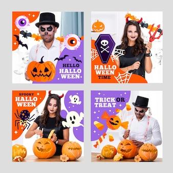 Colección plana de publicaciones de instagram de halloween
