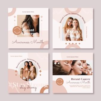 Colección plana de publicaciones de instagram del mes de concientización sobre el cáncer de mama con foto