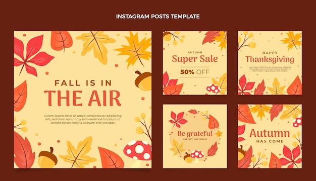 Colección plana de publicaciones de instagram de otoño