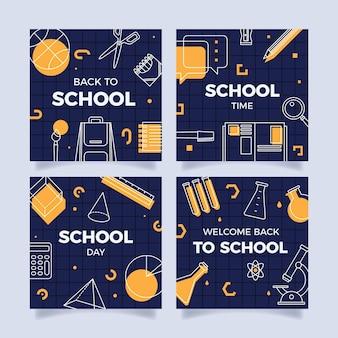 Colección plana de publicaciones de instagram de regreso a la escuela