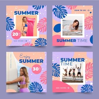 Colección plana de publicaciones de instagram de verano con foto