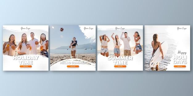 Colección plana de publicaciones de instagram de verano con foto vector gratuito