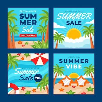 Colección plana de publicaciones de instagram de verano