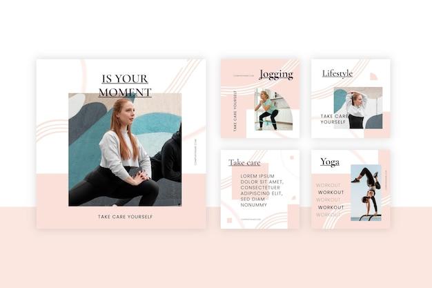 Colección plana de publicaciones de salud y fitness con foto