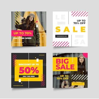 Colección plana de publicaciones de venta de instagram con foto