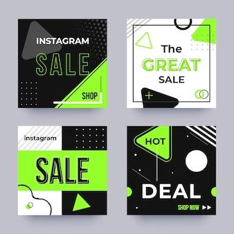 Colección plana de publicaciones de venta de instagram