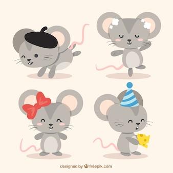 Colección plana de ratones