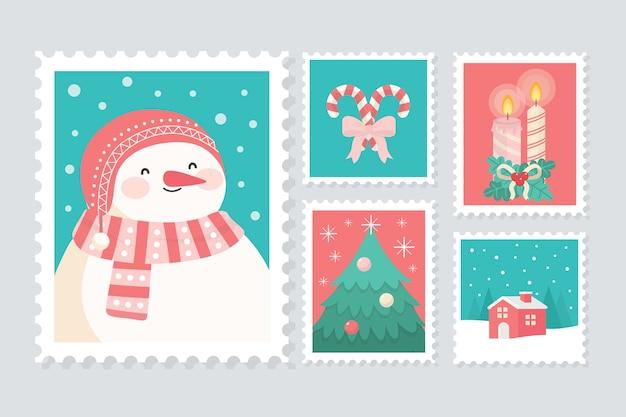 Colección plana de sellos navideños