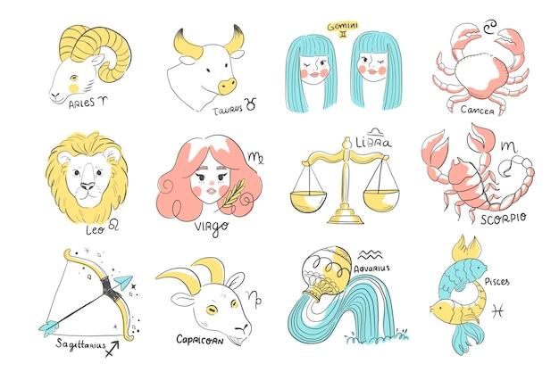 Colección plana de signos del zodíaco