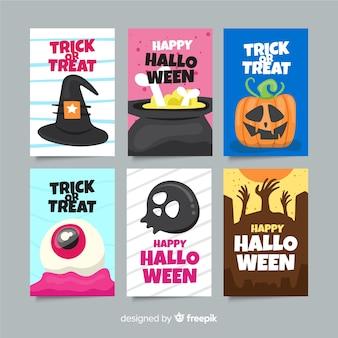 Colección plana de tarjetas de halloween