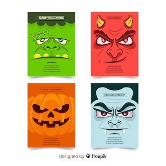 Colección plana de tarjetas de monstruos de halloween
