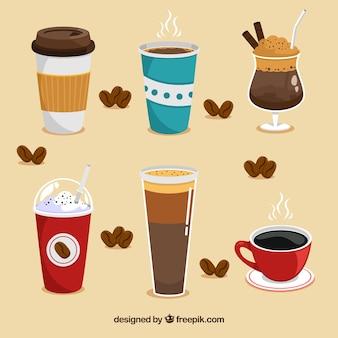 Colección plana de tazas de café