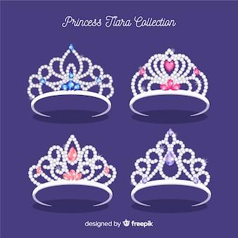 Colección plana tiaras de princesa de plata