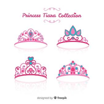 Colección plana tiaras de princesa rosa
