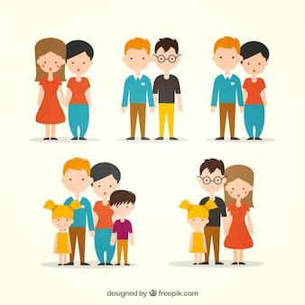 Colección plana de tipos de familia