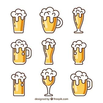 Colección plana de vasos y jarras de cerveza