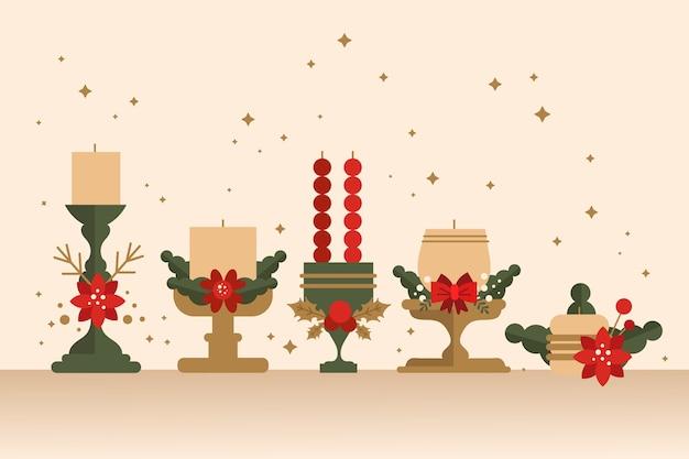 Colección plana de velas de navidad