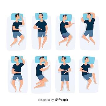 Colección plana vista superior poses para dormir