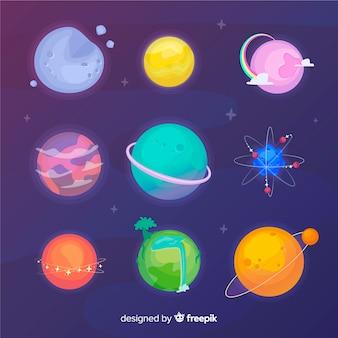 Colección planeta dibujado a mano