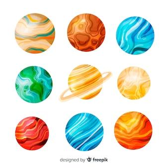 Colección de planetas acuarelas del cosmos