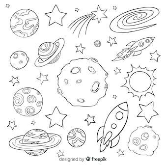 Colección de planetas dibujados a mano en estilo doodle