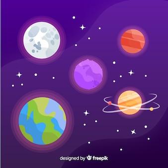 Colección de planetas dibujados a mano.