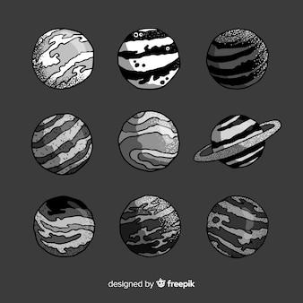 Colección de planetas dibujados a mano