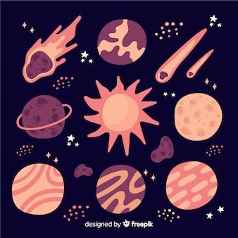 Colección de planetas diferentes dibujados a mano.