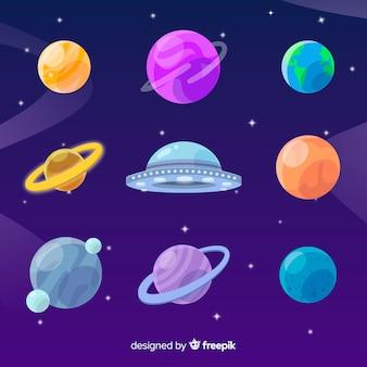 Colección de planetas de diseño plano con ovni