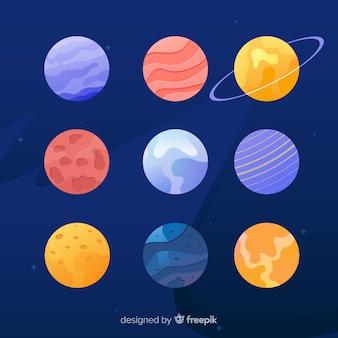 Colección de planetas de diseño plano sobre fondo cosmos