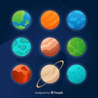 Colección de planetas de diseño plano sobre fondo oscuro