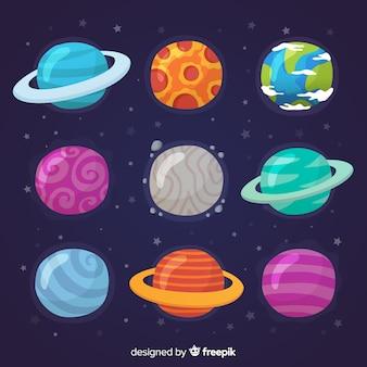Colección de planetas de diseño plano