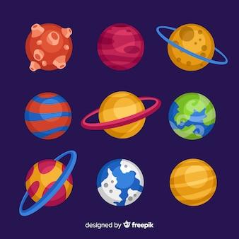 Colección de planetas de diseño plano.