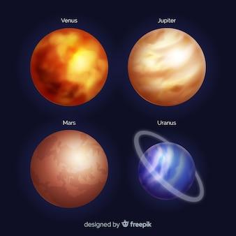 Colección de planetas de estilo realista.