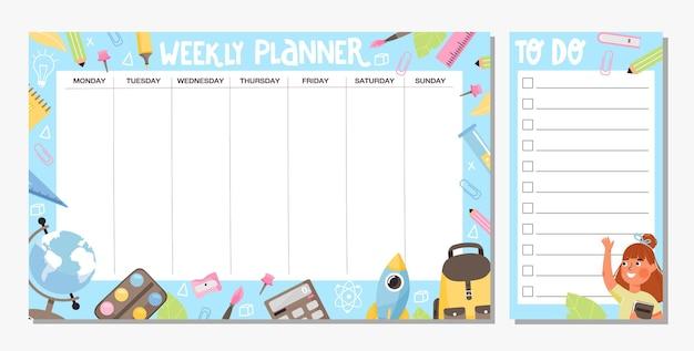 Colección de planificador semanal y plantilla de lista de tareas calendario escolar o diseño de horario