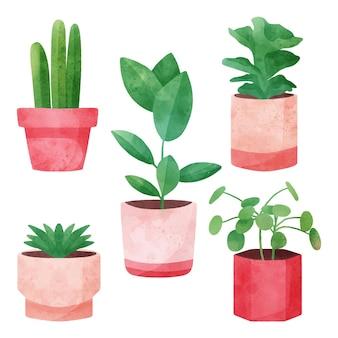 Colección de plantas de interior en acuarela en macetas.