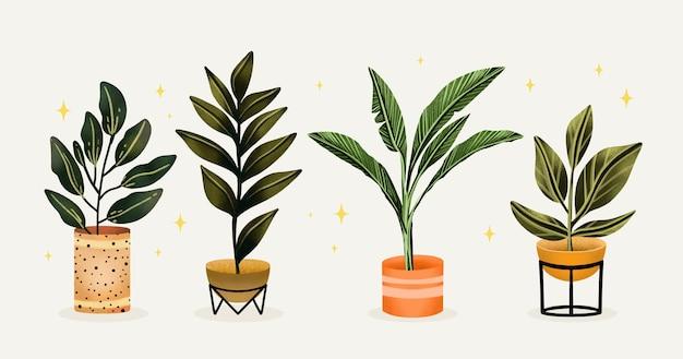 Colección de plantas de interior de acuarela pintada a mano