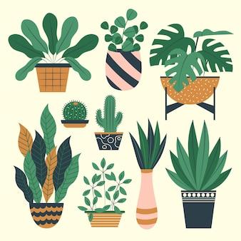 Colección de plantas de interior de diseño plano orgánico