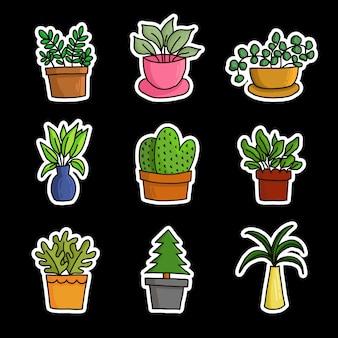 Colección de plantas de maceta de jardín.