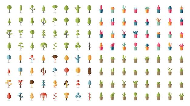 Colección de plantas y vectores de árboles