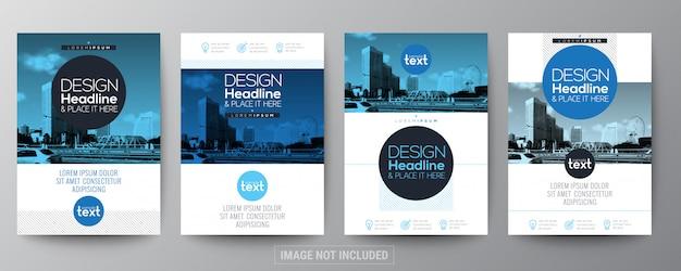 Colección de plantilla de diseño de folleto de flyer cartel azul