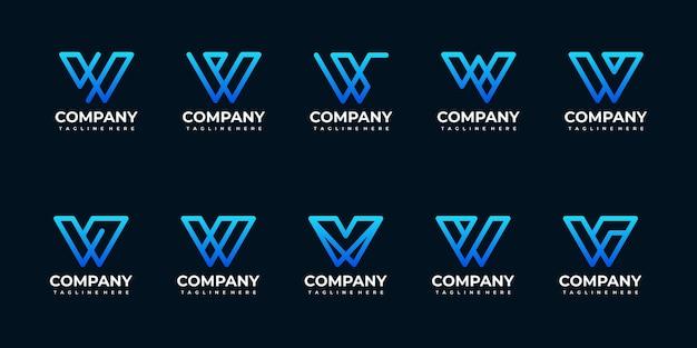 Colección de plantilla de diseño de logotipo de monograma de letra inicial